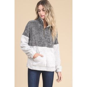 Two Tone Fuzzy Pullover Sweater